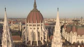 macar : Aerial view of Hungarian Parliament - Budapest, Hungary Stok Video