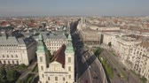 budapeşte : Aerial view of Budapest downtown - Rakoczi street, Hungary Stok Video