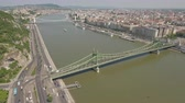 budapeşte : Aerial shot of Budapest - Freedom bridge, Hungary Stok Video