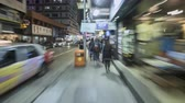 Hyperlapse shot of crowded busy shopping street in Hong Kong at night - October 2018: Hong Kong, China Vídeos