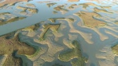 Aerial view of intertidal zone. Sandbanks in tide zone, Ocean shore - Atlantic Ocean