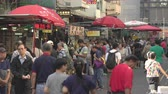 hong kong skyline : Crowded market, street view in Hong Kong. Busy Fa Yuen street market - October 2018: Hong Kong, China