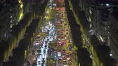 parisiense : Paris cityscape. Aerial of heavy traffic on Champs Elysees at night - September 2018: Paris, France