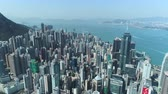 evler : Aerial shot of Hong Kong city downtown, Asian metropolis - October 2018: Hong Kong, China Stok Video