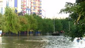 flooded road : people transportation from flooded area Stock Footage