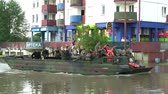 amphibious : people transportation from flooded area Stock Footage