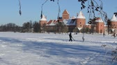 winter : Man carrying ski on frozen lake near Trakai castle fortification in winter. Active recreation in nature. Stock Footage