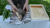 aluminium dishes : speed up fast scene hands wrap big fish into foil for baking in fire ember.