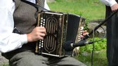accordionist : Accordionist young man in traditional clothes play folk music with accordion in rural party.