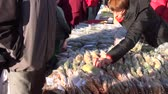offers : BIRZAI, LITHUANIA - OCTOBER 05: fair stalls with a variety of spices and herbs. Vendor offers man to buy healing herbs on October 05, 2013 in Birzai, Lithuania. Stock Footage