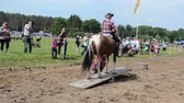 male animal : NIURONYS, LITHUANIA - JUNE 01: gorgeous beautiful horse with rider perfrom circus spectacular show on wooden swing and people enjoy it on June 01, 2013 in Niuronys, Lithuania. Stock Footage