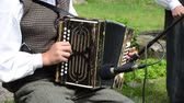 accordionist : JUKNENAI, LITHUANIA - JUNE 01: Accordionist man in traditional clothes play folk music with accordion in rural party on June 09, 2013 in Juknenai, Lithuania.