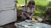 zeplin : Senior old woman prepare homemade cepelinas - lithuanian traditional food made with potatoes and meat. Stok Video
