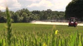 machinery : BIRZAI, LITHUANIA - JUNE 26, 2014: Tractor spray fertilize field with chemicals for crop plants protection from weed on June 26, 2014 in Birzai, Lithuania. Focus change shot. Tripod. Stock Footage