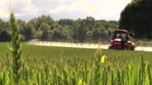 krajina : BIRZAI, LITHUANIA - JUNE 26, 2014: red country tractor sprayer work in green young cereal field on summer day on June 23, 2014 in Birzai, Lithuania. Focus change. Canon XA25. Full HD 1080p. Tripod