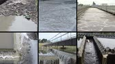 curso : Garbage bottles flow in dirty water. Bubbling scum of dirty sewage waste water treatment basin plant. Waterworks. Montage of video clips collage. Split screen. Black angular frame. Full HD 1080p.