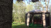 moskitiera : Garden arbor bower protective net from insect in spring time. Wooden tables and benches inside. Fir tree branch and trunk. Static shot. 4K UHD video clip.