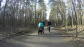 asphalt : Happy family couple push blue baby stroller on asphalt park path in sunny spring day. Healthy leisure in fresh air. 4K UHD wide angle shot. Stock Footage