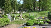 rest : VILNIUS, LITHUANIA - MAY 29:  panorama view of old country cemetery in spring time on May 29, 2015 in Vilnius, Lithuania. 4K UHD video clip.