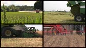 corner : Tractor spray field, make sodder grass bales, harvest wheats and fertilize soil. Agriculture works. Montage of video clips collage. Split screen. Black round corner frame. 4K UHD 2160p