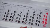calandra : hand with red marker kill last days of december month of 2016 year calendar Vídeos