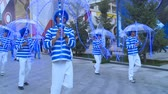 ASTANA, KAZAKHSTAN - July 8, 2017: People in blue costumes and umbrella performance in international exhibition expo 2017. Wideo