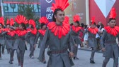ASTANA, KAZAKHSTAN - July 8, 2017: Young people with modern costume parade in international exhibition expo 2017. Handheld shot. Wideo