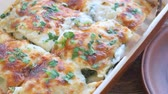 herb : Chicken lasagna and white cheese.