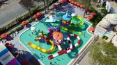 Water park top view colored slides