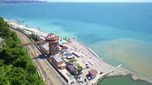 Sochi Black sea beach and railway bridge from top Stok Video