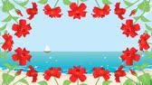 hibisco : Blooming Hibiscus and waving sea animation-Round frame Stock Footage
