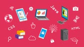 web server : E-learning Gadget concept animation-pink