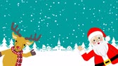 papai noel : Santa and Reindeer Speaking and Waving hand animation-Copy Space Stock Footage