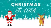 ren geyiği : Come closer and Dancing Santa and Reindeer animation-Christmas fair Stok Video