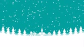 графики : Christmas Snowing town Motion background-Copy Space Стоковые видеозаписи