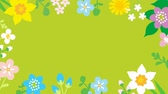 narcissus : Loop-ready File - Swinging flowers animation, Round frame-green color background