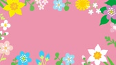canteiro de flores : Loop-ready File - Swinging flowers animation, Round frame-Pink color background