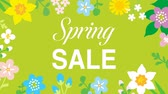 narcissus : Swinging animated flowers constitute Round frame, including word Spring SALE-Green color background
