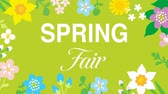 moving image : Swinging animated flowers constitute Round frame, including word SPRING Fair-Green color background Stock Footage