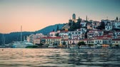 View of Poros, Greece - Timelapse of day to night transition Стоковые видеозаписи