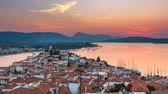 Panoramic aerial view of Poros, Greece - Timelapse of summer sunset Стоковые видеозаписи