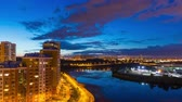 mistério : Timelapse of day to night transition over Moscow river