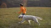 yellow dog : Girl running with golden retriever at field