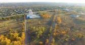Aerial view to Orthodox church in park in Kharkiv, Ukraine 무비클립