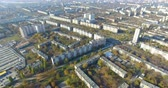 Aerial panoramic view of residential area Saltivka in Kharkiv 무비클립