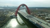 Aerial view of modern cable-stayed Zhivopisny bridge over Moskva River. Moscow, Russia.