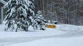 carregador : BEMIDJI, MN - DEC 28, 2018: Snow removal machine clearing snow on street after storm. Evergreen tree branches are snow covered. Vídeos