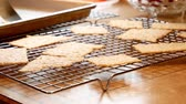aveia : Tasty homemade Christmas cookies are transferred from baking tray to cooling rack. Delicious cookies, backlit and  selective focus.