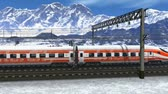 travel : Wonderful scenery of high speed train passing railway station in high snowy mountains. Design is my own and all text labels and numbers are fully abstract