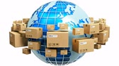 earth : Creative abstract global logistics shipping and worldwide delivery business concept: blue Earth planet globe surrounded by heap of stacked corrugated cardboard boxes with parcel goods isolated on white background